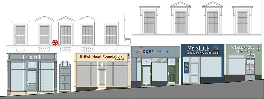 Designs for shopfronts at 3-15 King Street by the Pollock Hammond Partnership